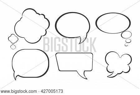 Bubble Comic Speech Set. Clouds And Bubbles For Text Dialogs. A Sticker Template For Both Social Net