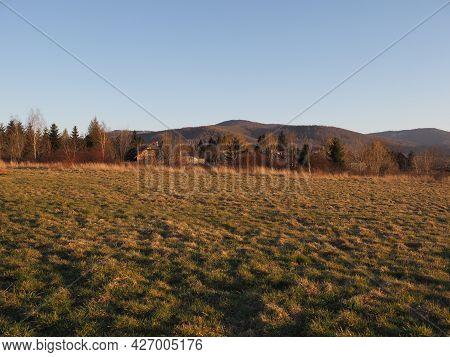 Silesian Beskid Mountains Range In European Bielsko-biala City In Poland, Clear Blue Sky In 2020 War