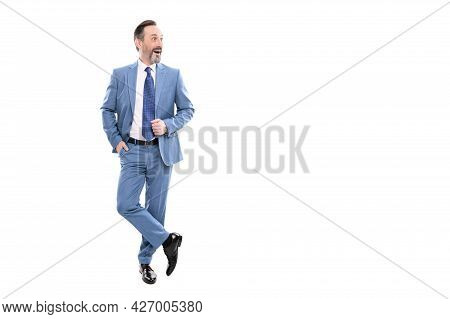 Surprised Grizzled Ceo In Businesslike Suit Full Length Isolated On White Copy Space, Businessperson