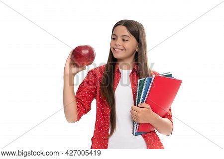 Happy Child Hold School Copybook For Studying And Apple Lunch Isolated On White, Back To School