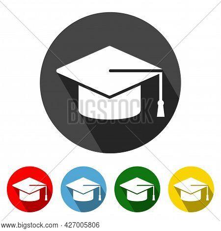 Graduation Cap Flat Style Icon With Long Shadow. Graduation Cap Icon Vector Illustration Design Elem