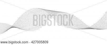 Abstract Smooth Wave Background. Monochrome Line Art. Waved Lines For Technology, Digital, Brochure,