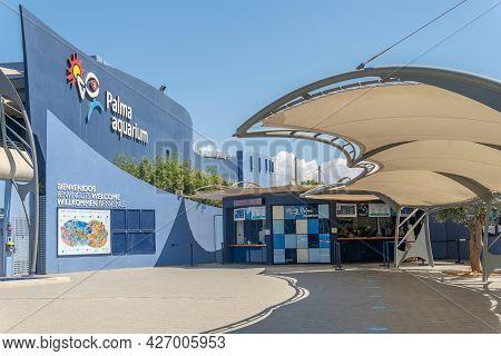 Platja De Palma, Spain; July 16 2021: Tourist Entertainment Company Palma Aquarium Located On The Is