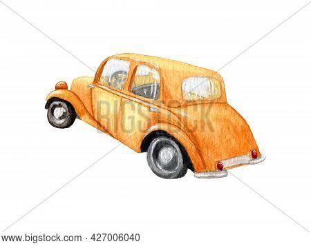 Orange Watercolor Car. Orange Fancy Car. Car Design For Boys. Watercolor Drawing. Hand Draw Llustrat