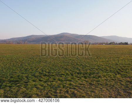 Desolate Silesian Beskid Mountains Range In European Bielsko-biala City In Poland, Clear Blue Sky In