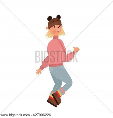 Little Cute Funny Girl Walks In Autumn Clothes. Funny Cartoon Illustration Of A Child In A Hat With