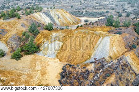 Colorful Mine Tailings And Spoil Heaps At Abandoned Copper Mine Near Kampia, Cyprus