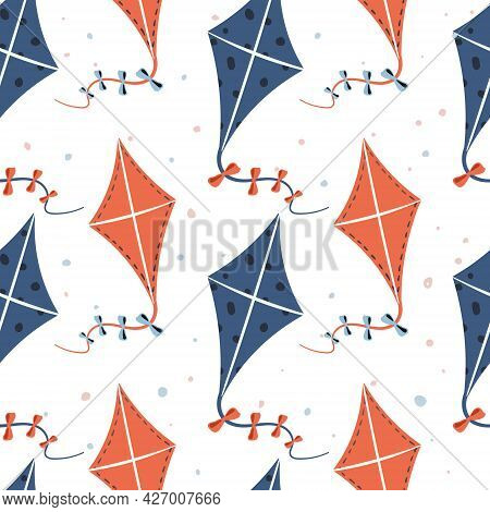 Vector Seamless Summer Pattern. Cartoon Flying Kites On A Ribbon With Bows. Children Toys And Outdoo