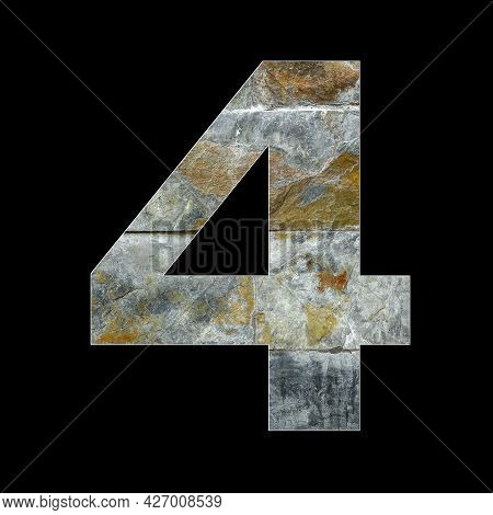 Number 4 - Four Digit On Rustic Stone Background