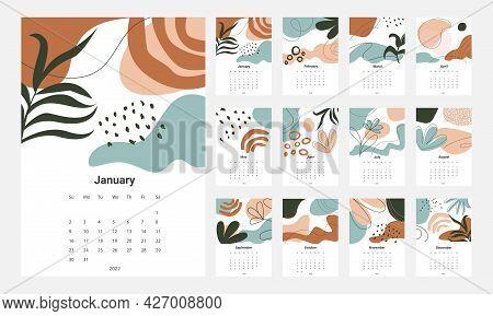 Calendar 2022 Template Vector, Set Desk Calendar 2022, Wall Calendar Design, Planner, Week Start On