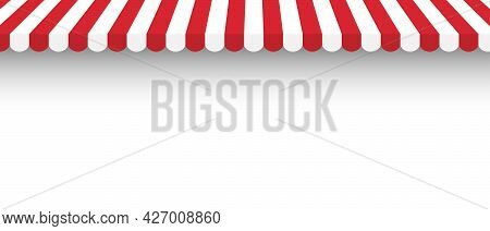 Striped Red And White Awning With Shadow. Template Design For Shop, Marketplace, Cafes And Street Re