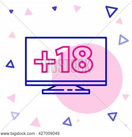 Line Computer Monitor With 18 Plus Content Icon Isolated On White Background. Age Restriction Symbol