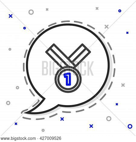 Line Medal Golf Icon Isolated On White Background. Winner Achievement Sign. Award Medal. Colorful Ou