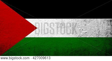 Flag Of Palestine. Meadlle East. Grunge Background