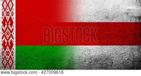 The National Red And Green Flag Of Belarus With White-red-white Flag Of Belarusian Democracy Movemen