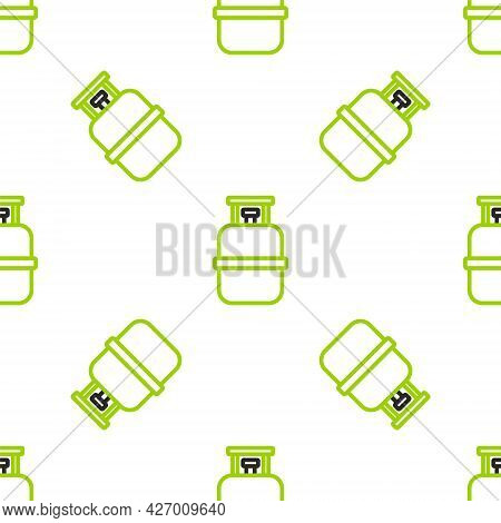 Line Propane Gas Tank Icon Isolated Seamless Pattern On White Background. Flammable Gas Tank Icon. V