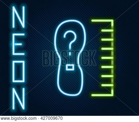 Glowing Neon Line Square Measure Foot Size Icon Isolated On Black Background. Shoe Size, Bare Foot M