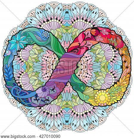 Vector Ornamental Infinity Symbol Zentangle Styled On Mandala. Eternal Life Sign. Hand Drawn Infinit