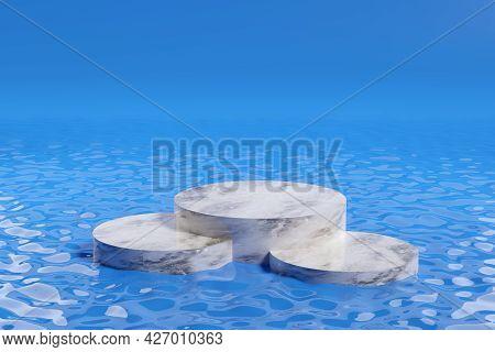 Marble Pedestal On Water In Blue Background. 3d Illustration.