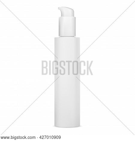 Pump Bottle Mockup. White Cosmetic Lotion Package. Face Serum Dispenser Container, Isolated On White