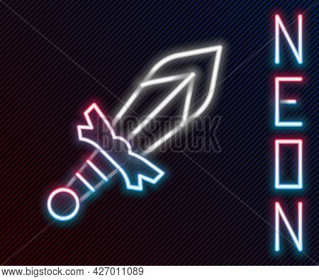 Glowing Neon Line Medieval Sword Icon Isolated On Black Background. Medieval Weapon. Colorful Outlin