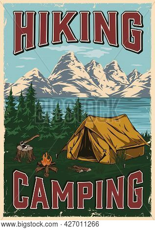 Outdoor Recreation Colorful Vintage Poster With Tourist Tent Campfire Ax On Forest Lake And Mountain