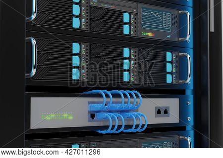 Close Up Of Computer Server Rack. 3d Illustration.