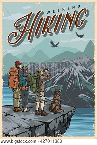 Outdoor Adventure Colorful Vintage Poster With Dog Couple Of Hikers And Traveler With Binoculars Sta