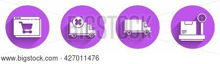 Set Online Shopping On Screen, Delivery Cargo Truck Vehicle, Delivery Cargo Truck Vehicle And Scale