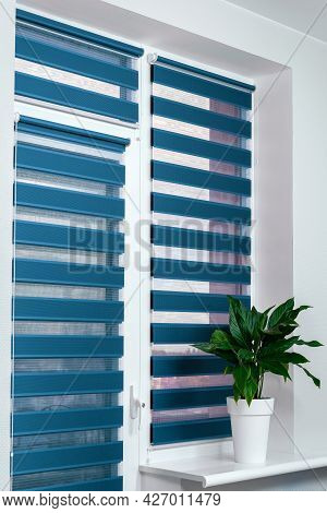Windows With Closed Modern Horizontal Blinds Indoors Closeup. Window Roller, Duo System Day And Nigh