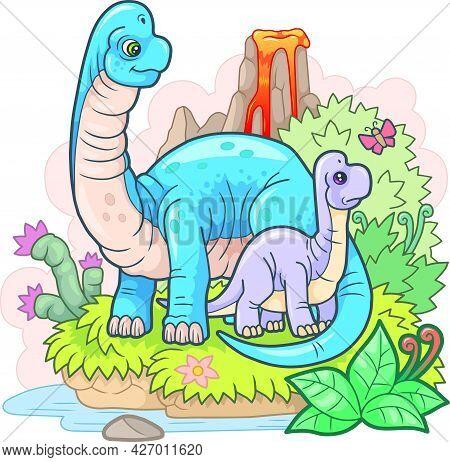 Cartoon Cute Prehistoric Dinosaurs, Funny Illustration, Design