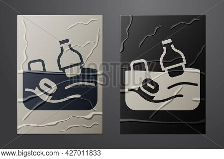White The Problem Of Pollution Of The Ocean Icon Isolated On Crumpled Paper Background. The Garbage,