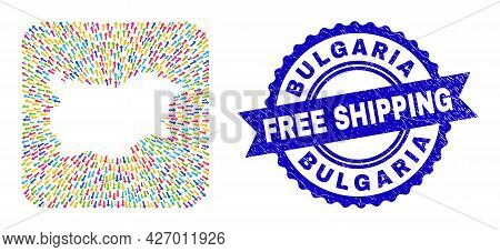 Vector Collage Bulgaria Map Of Moving Arrows And Rubber Free Shipping Seal Stamp. Collage Bulgaria M