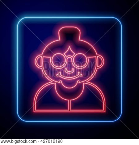 Glowing Neon Grandmother Icon Isolated On Black Background. Vector
