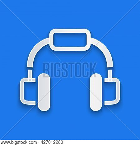 Paper Cut Headphones Icon Isolated On Blue Background. Earphones. Concept For Listening To Music, Se