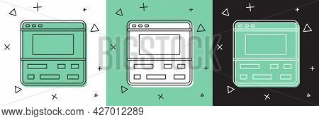 Set Video Recorder Or Editor Software On Laptop Icon Isolated On White And Green, Black Background.