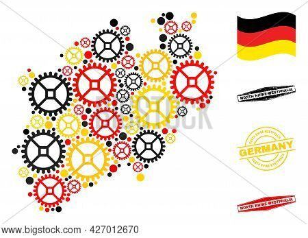 Mechanics North Rhine-westphalia Land Map Collage And Seals. Vector Collage Designed From Clock Gear