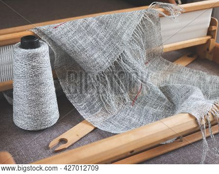 Wooden Handloom, Reed, Shuttle, Bobbin With Linen Yarn And Piece Of Woven Cloth. Handwoven Fabric Ma