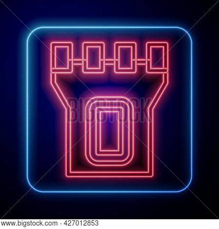 Glowing Neon Castle Tower Icon Isolated On Black Background. Fortress Sign. Vector