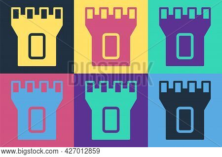 Pop Art Castle Tower Icon Isolated On Color Background. Fortress Sign. Vector