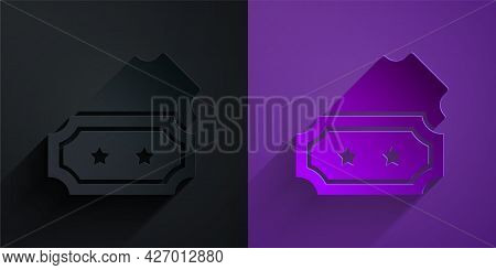 Paper Cut Ticket Icon Isolated On Black On Purple Background. Amusement Park. Paper Art Style. Vecto