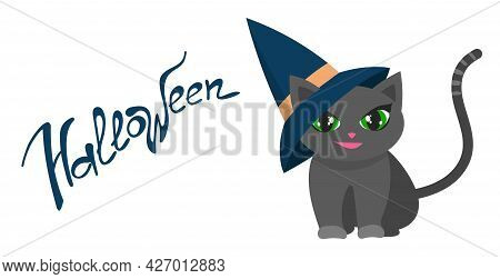 Cute Sly Black Kitten In A Sharp Hat For Halloween, Isolated On A White Background