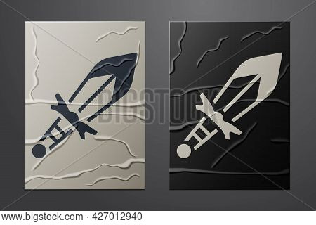 White Medieval Sword Icon Isolated On Crumpled Paper Background. Medieval Weapon. Paper Art Style. V