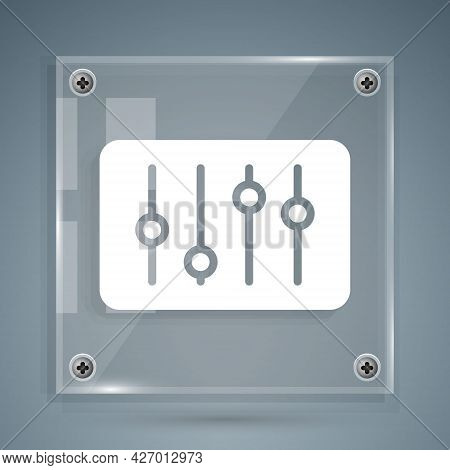 White Sound Mixer Controller Icon Isolated On Grey Background. Dj Equipment Slider Buttons. Mixing C