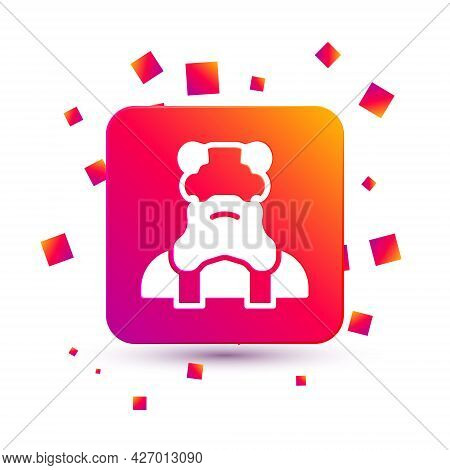 White Priest Icon Isolated On White Background. Square Color Button. Vector