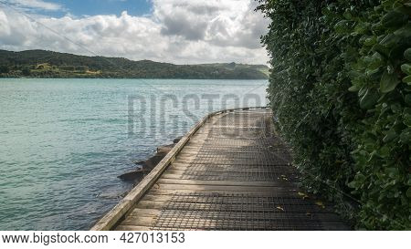 Wooden Coastal Boardwalk Surrounded By Water From Left And Foliage From The Right. Shot At Raglan, N
