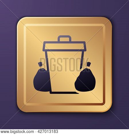 Purple Trash Can Icon Isolated On Purple Background. Garbage Bin Sign. Recycle Basket Icon. Office T