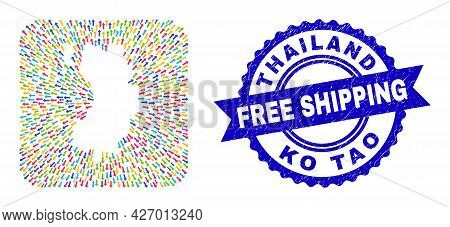 Vector Collage Ko Tao Map Of Emigration Arrows And Rubber Free Shipping Seal Stamp. Collage Ko Tao M