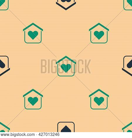 Green And Black Shelter For Homeless Icon Isolated Seamless Pattern On Beige Background. Emergency H