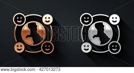 Gold And Silver International Community Icon Isolated On Black Background. Worldwide Community. Cros